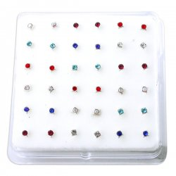 Sterling Silver Gems Bonding SQUARE Nose Studs w/ Display <b>($0.17 Each)</b>