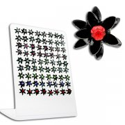 Jeweled Black Flower Ear Studs w/ Display <b>($0.51/PAIR)</b>