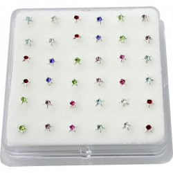 Sterling Silver Gems Bonding STAR Nose Studs w/ Display <b>($0.17 Each)</b>