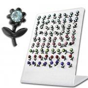 2 styles Blackline Flower w/ color gems Ear Studs w/ Display <b>($0.51/PAIR)</b>