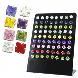 Cubic Zirconia 5mm Multicolored Square Crystal Ear Studs w/ Display <b>($0.68/pc)</b>