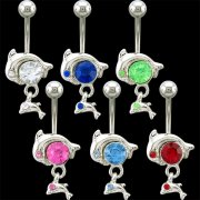 2 Dolphins Dangles Navel Rings <b>($0.99 Each)</b>