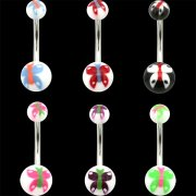 UV Reactive Butterfly Navel Rings <B>($0.34 Each)</B>