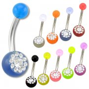 UV Navel Rings filled with CZ gems <B>($0.99 Each)</b>