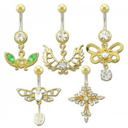 Gold Plated Navel Rings Collection <B>($1.23 Each)</b>