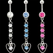 CZ Jeweled Dangling Heart Navel Ring <B>($0.99 Each)</b>