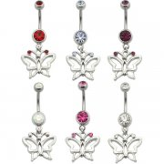 Double Jewel Banana with Butterfly Dangle Navel Rings <B>($0.82 Each)</b>