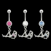 Naked Ladies Dangling Navel Rings <B>($0.66 Each)</b>