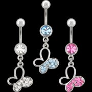 CZ Jeweled Butterfly w/ Open Wing Navel Rings <B>($1.65 Each)</b>