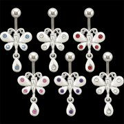 Butterfly w/ Teardrop Dangle Navel Rings <B>($0.82 Each)</b>