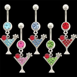 Martini Dangle Navel Rings <B>($0.99 Each)</b>
