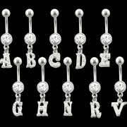CZ Jeweled Initials Navel Rings <B>($0.99 Each)</b>