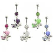 Butterfly w/ Cat-Eye Stone Belly Rings <B>($0.99 Each)</b>