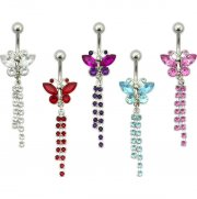 Gem Filled Tailing Butterfly Navel Ring <B>($0.99 Each)</B>