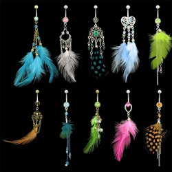 Feather Navel Rings <B>($0.99 Each)</b>