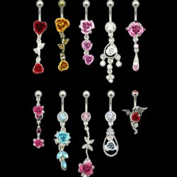 Roses Dangles Navel Rings Collection <b>($0.99 Each)</b>