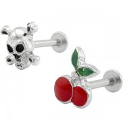 Cherry & Skull Labrets <B>($0.41 Each)</b>