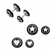 Engraved Star & Heart Fake Ear Plugs <b>($0.82 Each)</b>