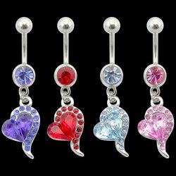 Single Tone Tailing Heart Navel Ring <B>($0.99 Each)</B>