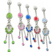 Single Tone Jeweled Circle With Drops Navel Rings <B>($0.99 Each)</b>