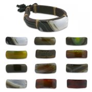 HOT! Genuine Leather Hand Made Bracelets w/ Natural Stones <b>($0.99 Each)</b>