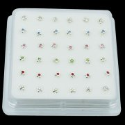 925 Sterling Silver PLUS CROSS Nose Studs w/ Display <b>($0.17 Each)</b>