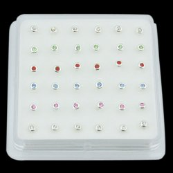 925 Sterling Silver DONUT SHAPE Nose Studs w/ Display <b>($0.17 Each)</b>