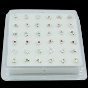 925 Sterling Silver FOOT SHAPE Nose Studs w/ Display <b>($0.17 Each)</b>