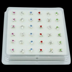 925 Sterling Silver BUTTERFLY w/ GEM Nose Studs w/ Display <b>($0.17 Each)</b>