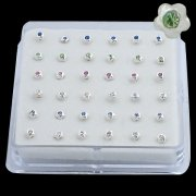 925 Sterling Silver FLOWER w/ GEM Nose Studs w/ Display <b>($0.17 Each)</b>