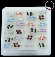 925 Sterling Silver Nose Hoops w/ Beads on Display <b>($0.34 Each)</b>